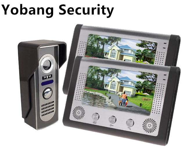 Yobang Security freeship 7inch Video Door Phone Bell Kits 1-Camera 2 monitor support Monitoring, Unlock, Dual-way Video Intercom bqlzr 8 inch hairline finish silver security door slide flush latch bolt