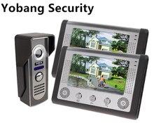 Yobang Security freeship 7inch Video Door Phone Bell Kits 1-Camera 2 monitor support Monitoring, Unlock, Dual-way Video Intercom