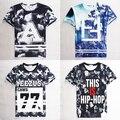 Man's HBA/swag tops tees letter print homme femme/YEEZY 77 T Shirt hip hop short sleeve clothes men fashion t shirt