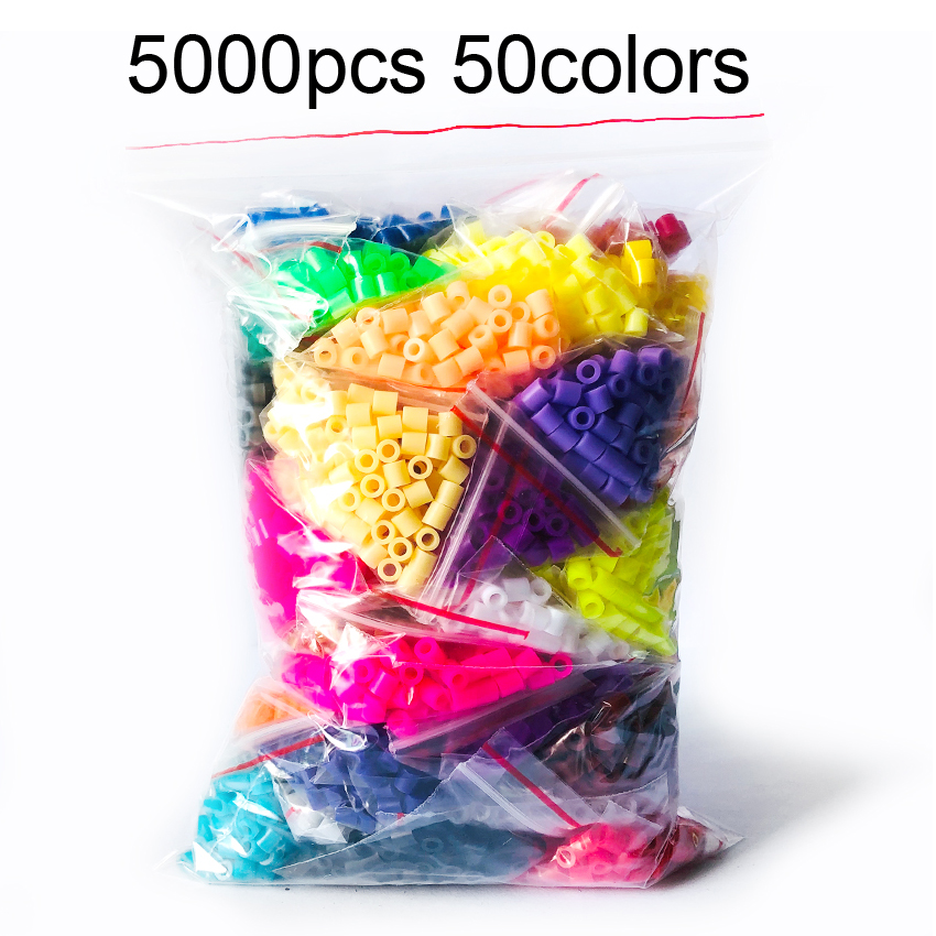 DOLLRYGA 5000pcs/bag 5mm Hama Beads 50Colors Perler Beads Puzzle Education Toy Fuse Bead Jigsaw Puzzle 3D For Children Abalorios