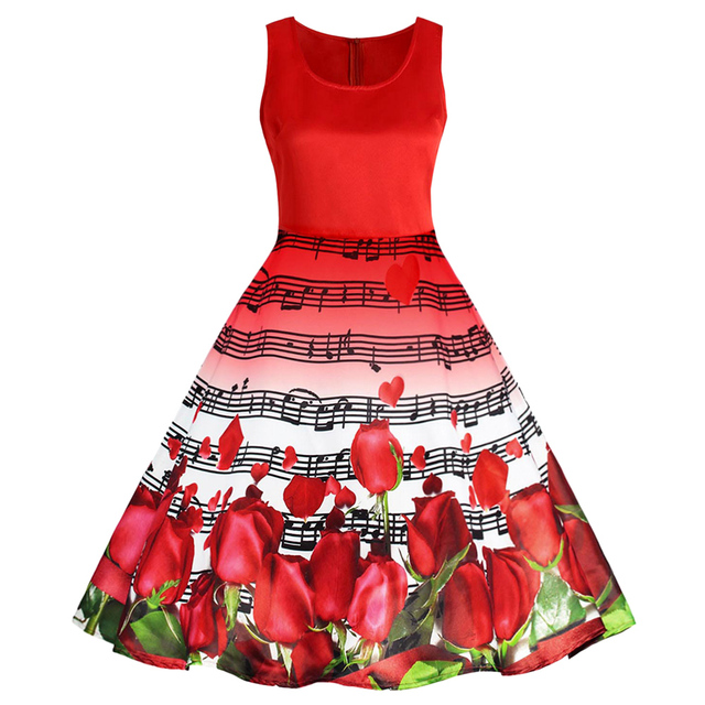 Gamiss Women Vintage Dress Musical Notes Roses Print Valentines Day