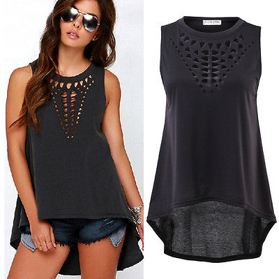 Hot New 2016 Women Retro Black Hollow Out Tank Tops Sexy Vest Sleeveless Blusa Casual Loose Shirt Blouse Crochet Tops Cheap