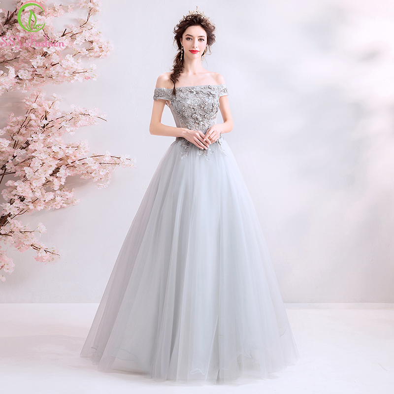 SSYFashion New Grey Lace   Evening     Dress   Boat Neck Floor-length A-line Appliques Elegant Banquet Long Formal Gowns Robe De Soiree