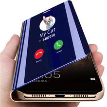 Hot inteligentne lusterko etui z klapką stań skórzany futerał na telefon etui na Huawei P10 P9 Plus P8 Lite 2017 Mate 20 10 9 8 Pro Honor 7A 7C 7S 8 8X 8C 10 tanie tanio TUMI OvO Fashion Flip Stand Leather Cover For Huawei Mate 10 20 Lite Nova 2i Luxury Clear View Black RoseGold Blue Purple Sliver Gold Cases Hot New