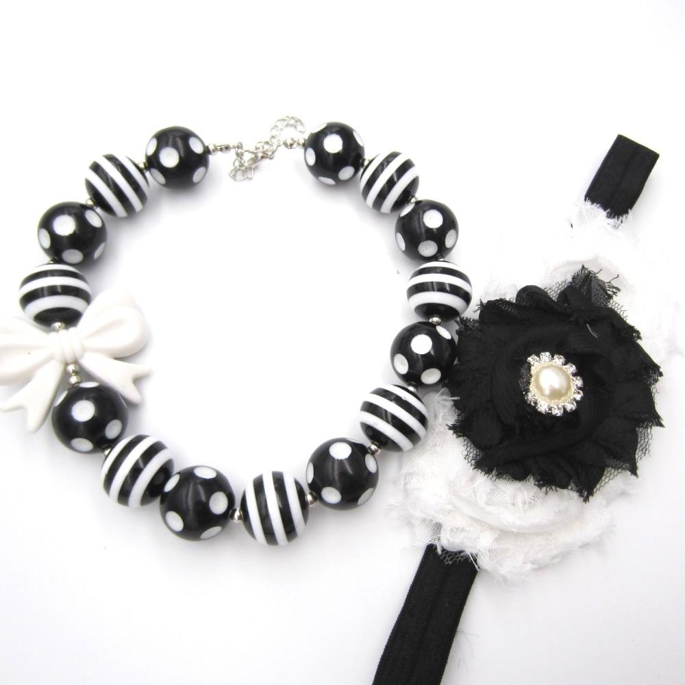 New Girls Bowknot Bubblegum Necklace 20mm Acrylic Black-white Striated Football Beads Necklace Headband Sets Kids Jewelry Set