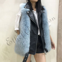 ETHEL ANDERSON Girl's 100% Real Fox Fur Vest Gilet Genuine Leather Female Fashion Style Fur Zipper Waistcoat Coat Colors Jacket