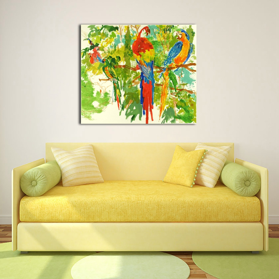 A1937 LeRoy Neiman Colorful Abstract Parrot Animals ,HD Canvas ...