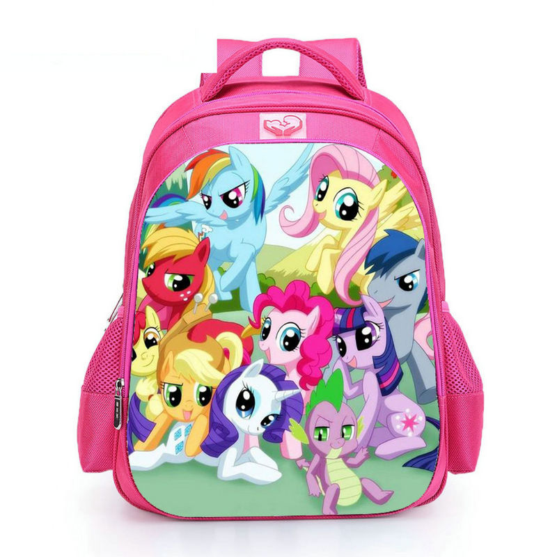 2019 Pink My Little Pony Schoolbag Kids 16 Inch Pupil Unicorn School Bag For Teenager Girls Casual Travel Bagpack Day Pack