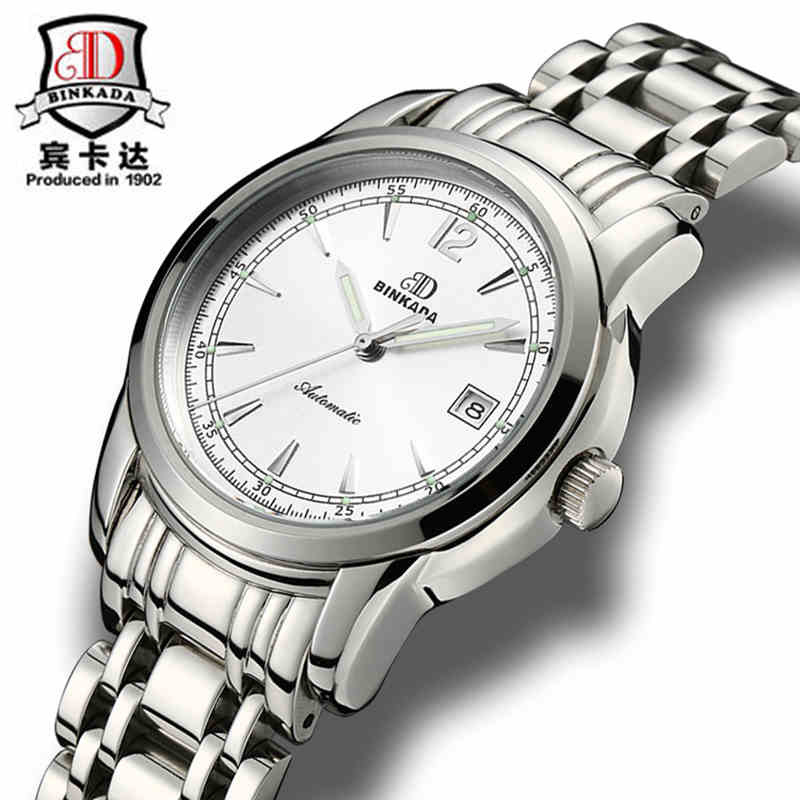 New Watches Men Luxury Brand BINKADA Automatic Mechanical Watch Waterproof Calendar Full Steel Mens Wristwatch relogio masculino binkada men watch automatic mechanical full steel watches date calendar water resistant watch