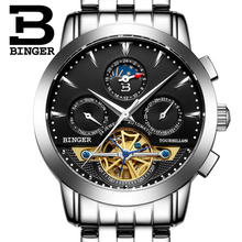 2017 NEW luxury men's watch BINGER brand Mechanical Wristwatches sapphire full stainless steel  Moon Phase clock B1188-2