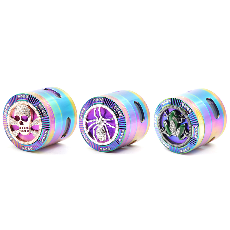 Free Shipping Ice Blue <font><b>Side</b></font> Shredder Rainbow Iridescent Zinc Alloy Grinder Tobacco Tobacco <font><b>Sander</b></font> image