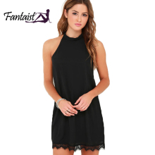 Fantaist Wanita Musim Panas Elegan Cocktail Party Night Club Tanpa Lengan Halter Neck Hitam Kecil Kasual Longgar Mini Renda Pergeseran Gaun