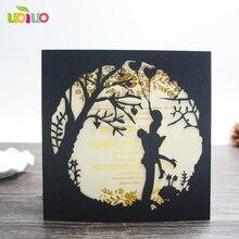 Kostenloser versand 50set inc90 Braut Bräutigam Kuss Geschnitzten Muster Hochzeit Einladung Karte Laser Cut Hochzeit Karte Kit mit Inneren blatt