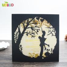 free shipping 50set inc90 Bride Groom Kiss Carved Pattern Wedding Invitation Card Laser Cut Wedding Card Kit with Inner Sheet