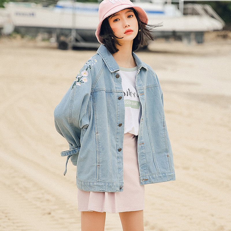 Women Denim Jacket Flower Embroidered New 2018 Fall And Winter Long