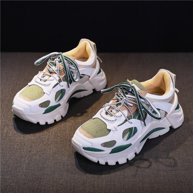 ابتسامة دائرة المرأة أحذية شقة منصة حذاء رياضة الدانتيل متابعة عارضة مريحة خليط سميكة أسفل السيدات حذاء رياضة-في أحذية نسائية مسطحة من أحذية على  مجموعة 3