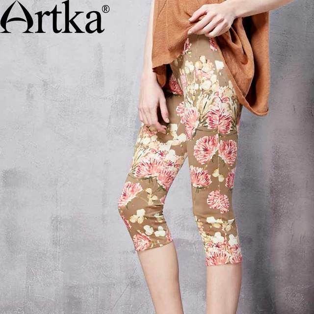 Artka Women's Spring New Floral Printed Comfy Mid-Calf Leggings Vintage Elastic Waist All-match Leggings ZA11068C