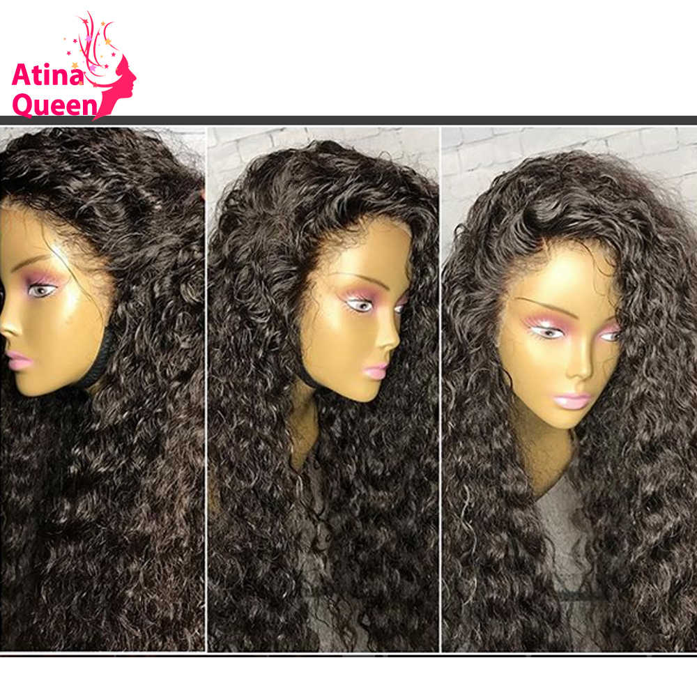 Pre Plucked Full Lace Human Hair Wigs With Baby Hair 200 Density Brazilian Deep Wave Lace Wig for Women Remy Black Atina Queen