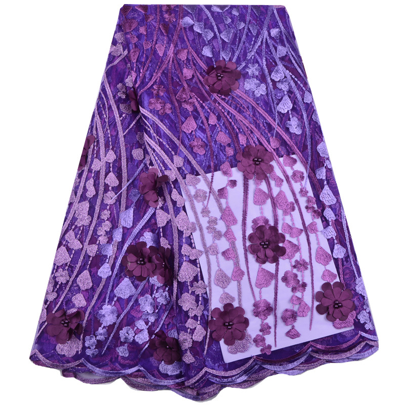 France purple flowers Lace Fabric Nigerian Lace Fabrics For Wedding A1392