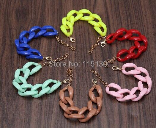 Fishsheep New Fashion Acrylic Chain Link Bracelet For Women Men Bohemian Colorful Cuff Wristband Bracelets & Bangles Jewelry 4