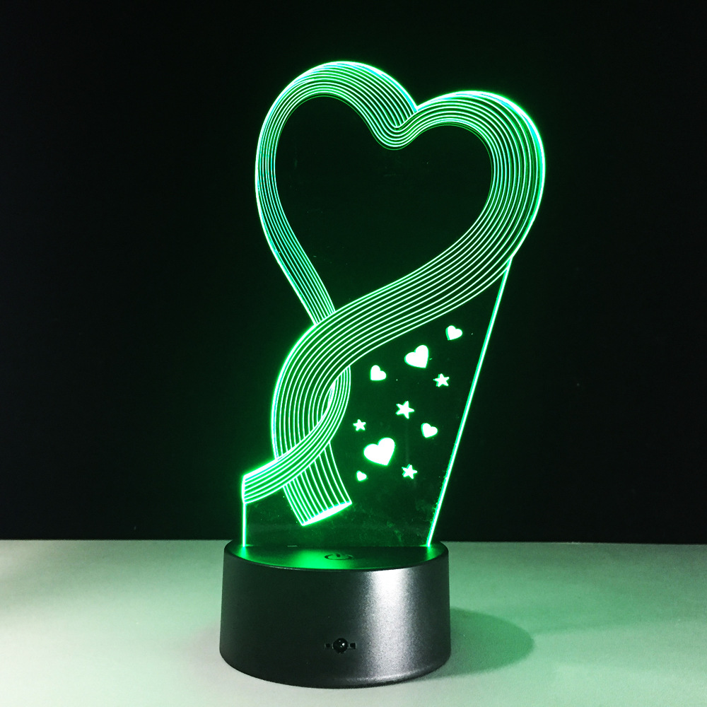 New Led 3d Night Light Remote Control Touch 7 Colorful Table Lamps  Valentine Heart Creative Gift