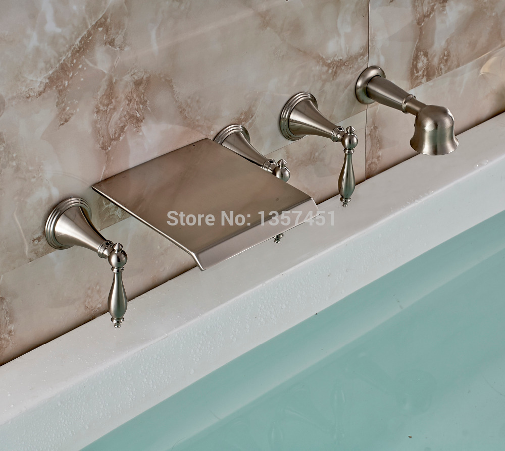 Wall Mount Waterfall Bathtub Faucet Brushed Nickel Mixer Tap with ...