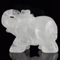 2 Inch Elephant Figurines Craft Carved Natural Stone Rock Quartz Crystal Mini Animals Statue for Home Decor Chakra Healing