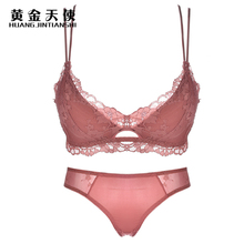 New Lace Adjusted Thin Cup Lingerie Bra Set Underwear Soft Underwire Sexy Bra Set For Women Hollow Out Bra & Brief Set недорого