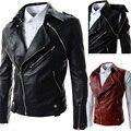 Мужской кожаная одежда мода молния кожаная куртка мужчин случайных стенд воротник промывочной воды верхняя одежда мотоцикл мужская кожаная куртка