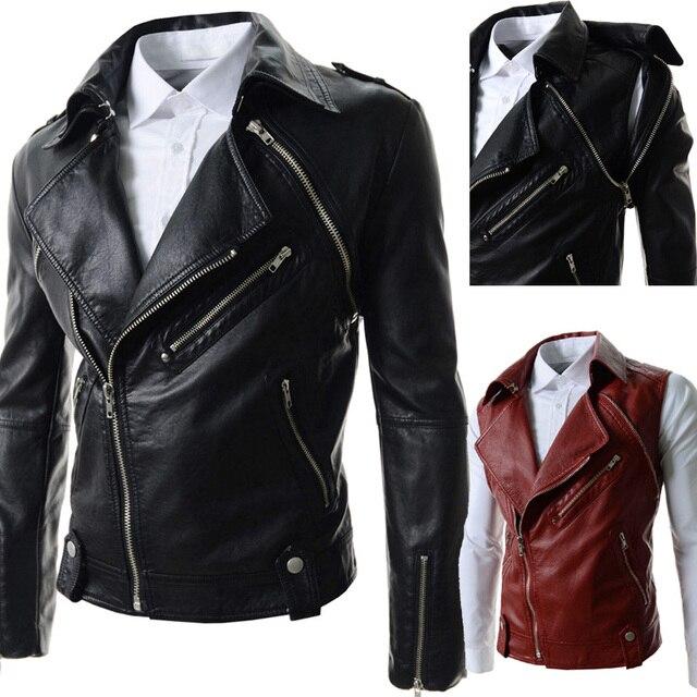 b1dd2af2018 Мужской кожаная одежда мода молния кожаная куртка мужская повседневная  Стенд воротник вода для мытья пиджаки мотоцикл