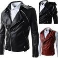 Cremallera de la manera ropa de cuero masculino chaqueta de cuero masculina del collar del soporte ocasional lavado con agua de la motocicleta outwear hombres de la chaqueta de cuero