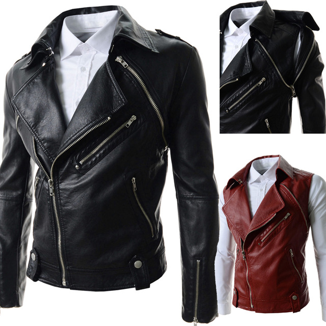 Male leather clothing fashion zipper leather jacket male casual stand collar water wash outwear motorcycle men leather jacket