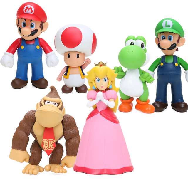e3286959fcd31 6 pçs lote Super Mario Bros Figura Set Peach Toad Mario Luigi Yoshi Donkey  Kong