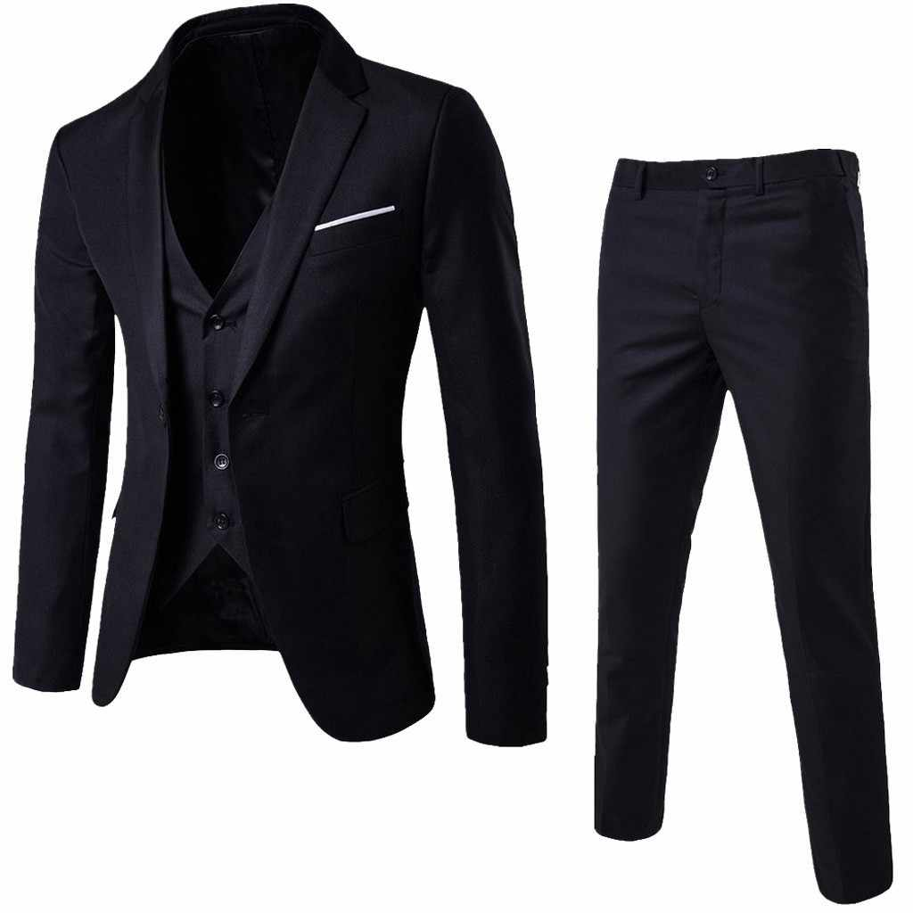 2019 スーツメンズビジネスウェディングフォーマルシングルバックルスリム男性 3 点セットタキシードブレザー (ジャケット + ベスト + パンツ) プラスサイズ