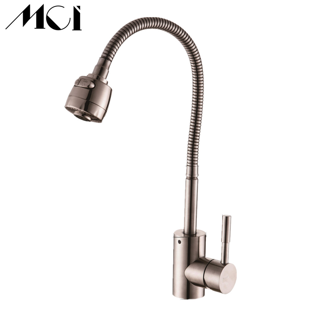 304 Stainless Steel No Lead Hot And Cold Kitchen Faucet 360 Degree Rotation Single Handle Crane Sink Mixer Tap Mci