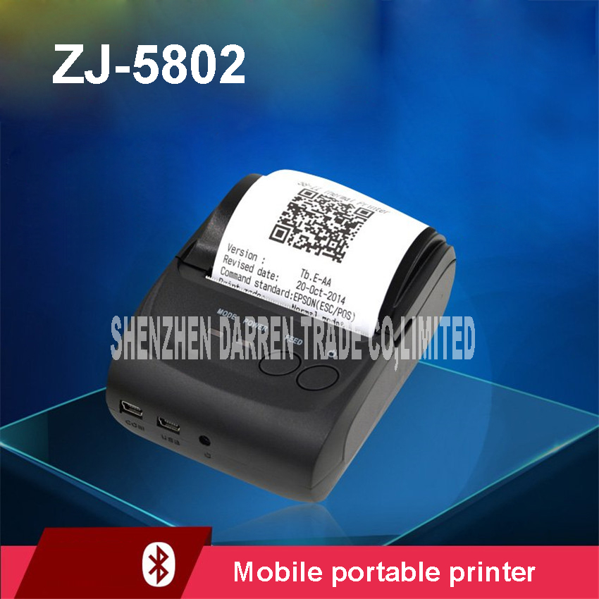 High speed printing mobile portable printer ZJ-5802 DC24V/2.5A 58mm phone Bluetooth small bills mini computer thermal printer zj 8001 portable thermal printer support for computer apple android mobile phone 80mm bluetooth wireless receip print