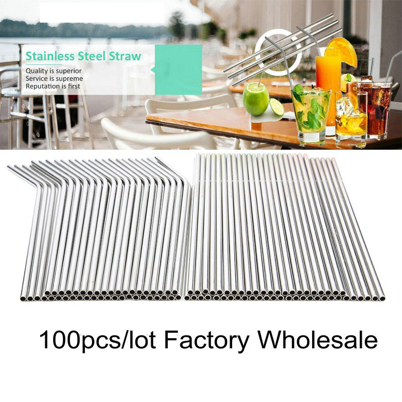 215x6mm 100PCS/LOT  Reusable Straw High Quality 304 Stainless Steel Metal Straw  For Mugs 20/30oz