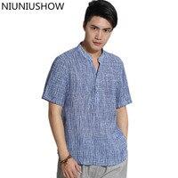 Summer Mandarin Collar Man Short Sleeve Tai Chi Shirt tops Vintage Chinese Kung Fu Short Sleeve Shirt Tang Suit Size M XXXL