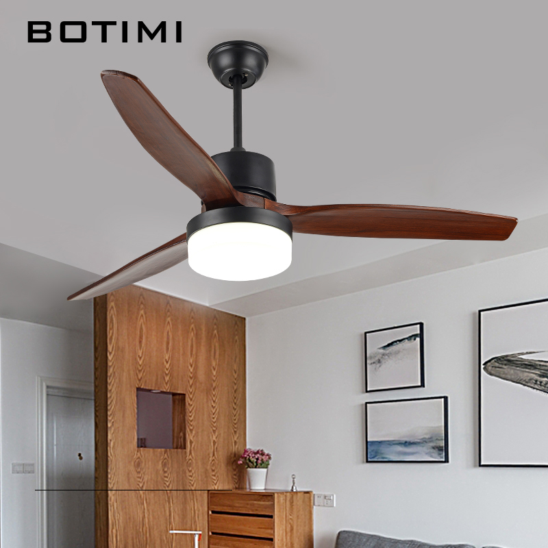 BOTIMI 52 Inch LED Ceiling Fan Ventilador De Techo Living Room Fan Lights Restaurant Wooden Cooling Ceiling Fans Home Lighting