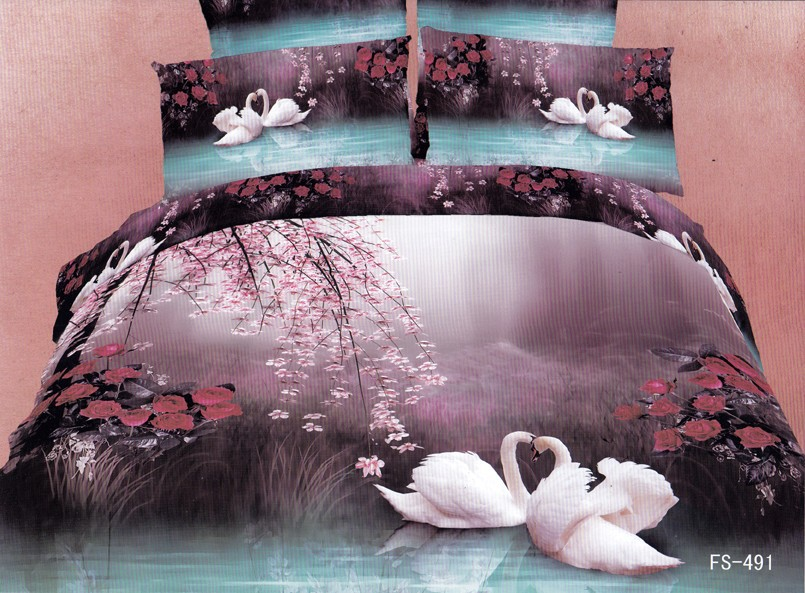 Hot Beautiful 100% Cotton 4pc Doona Duvet QUILT Cover Set bedding set Full / Queen King size animal Fairyland Swan Flower - jiagen chen's store