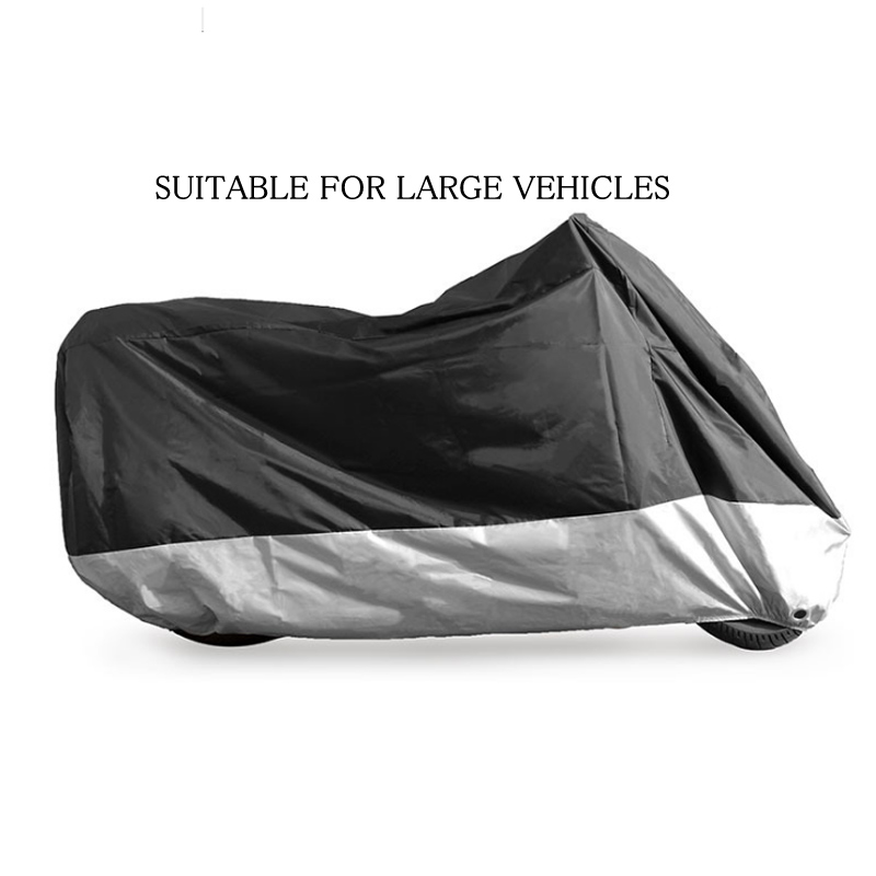 Black with Silver Motorcycle Cover Waterproof Outdoor UV/Dust Protector Rain Dustproof Cover for Motorcycle Scooter