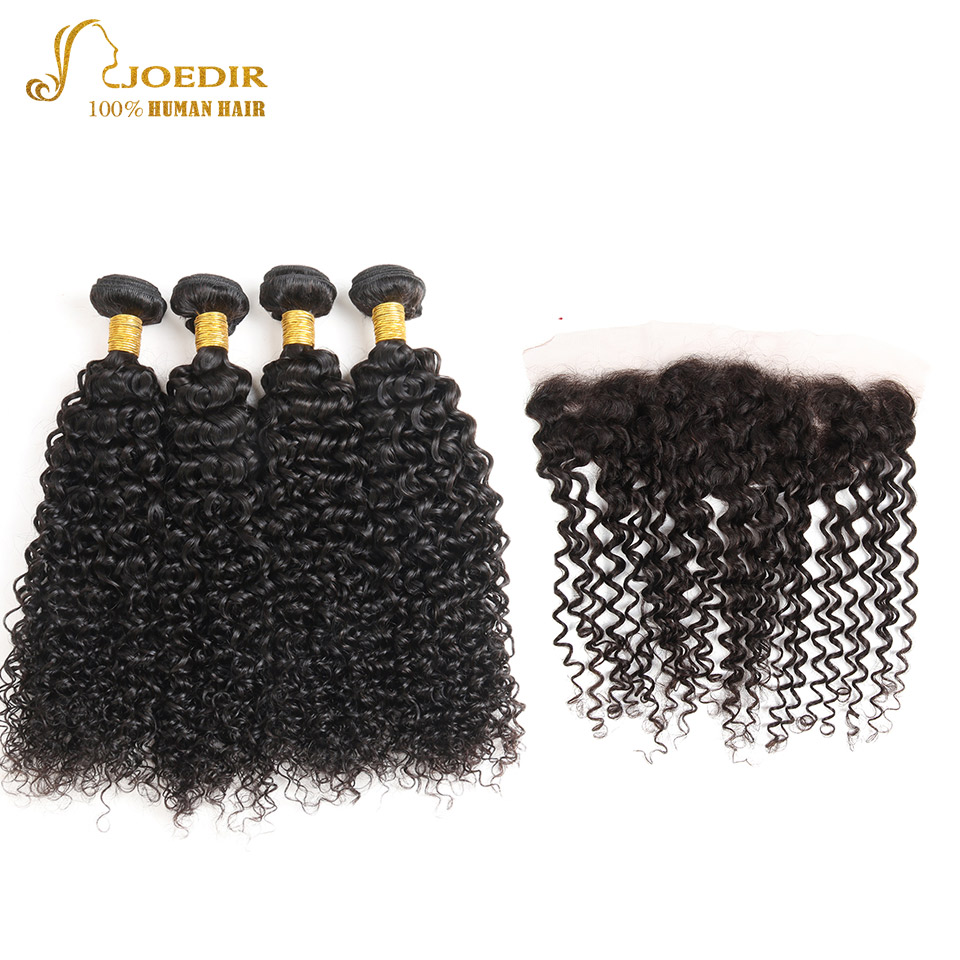 JOEDIR Human Hair Bundles With Frontal Closure 13x4 Pre-Colored Kinky Curly Indian Hair Bundles Non Remy Hair Extensions ...