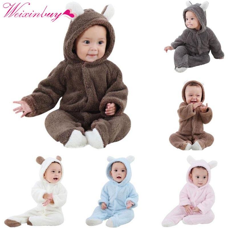 Baby Strampler Frühling Baby Kleidung Flanell Baby Jungen Kleidung Cartoon Tier 3D Bär Ohr Strampler Overall Warme Neugeborenen Säuglingsspielanzug