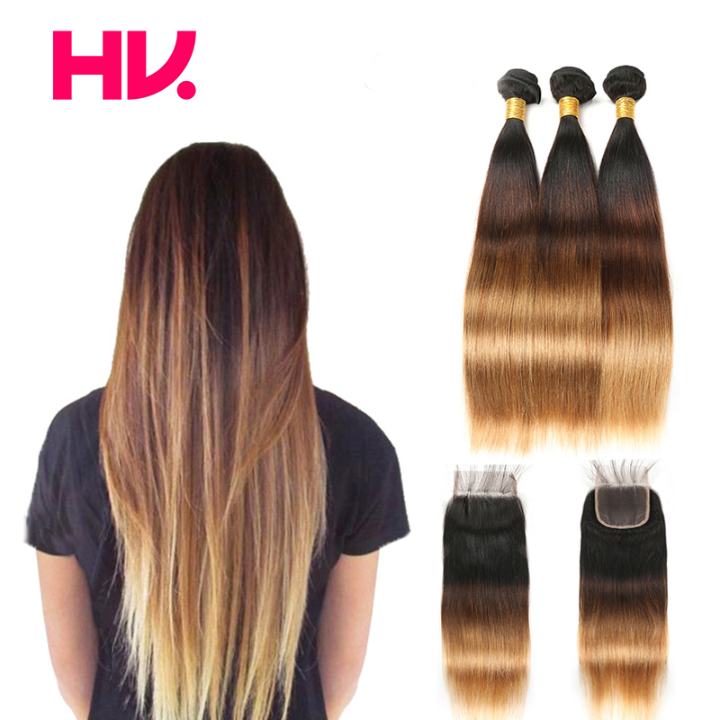 Pre Colored ombre bundles with closure straight 1B 4 27 Non remy human brazilian hair weave