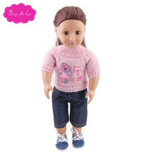 Pink cartoon sweater is suitable for 18-inch girl dolls and 43-cm doll accessories for children's Christmas gifts c203(China)