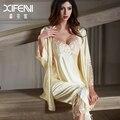 XIFENNI Imitação Pijamas de Seda Feminina De Seda De Cetim Conjuntos de Pijama Longo-Sleeved Bordado Sleepwear Rendas Pijama Set 6632
