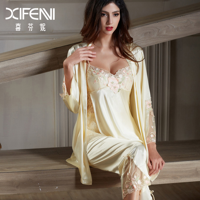 XIFENNI Imitation Silk Pajamas Female Satin Silk Pyjama Sets Long-Sleeved Embroidery  Sleepwear Lace Pajama ceb485982