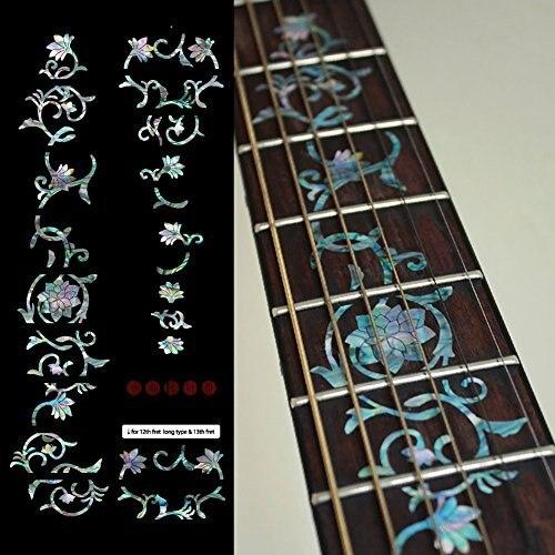 Marqueurs Fretboard autocollants incrustés pour guitare-fleurs orientales-Mix
