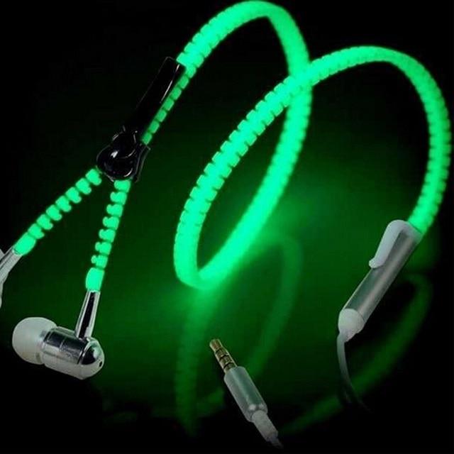 Fashion 3.5mm Sports Wired Zipper Earphones Headset Luminous Light Glow in the Dark Earphone Metal Headphones with Mic for Phone