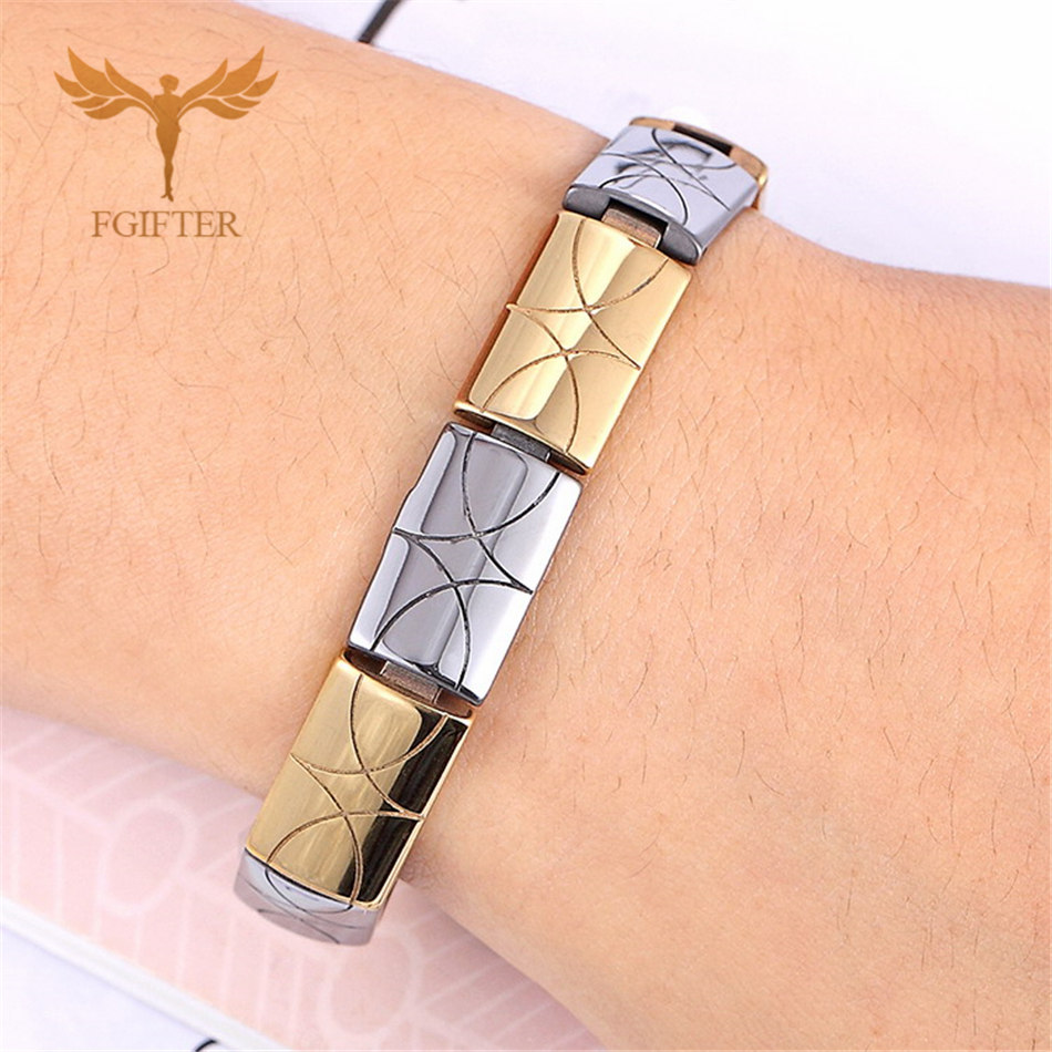Men's Stainless Steel Bracelets Male Gold Color Chain Bracelet Gift for Him Cool Mens Jewellery Magnetic Tungsten Steel Bracelet
